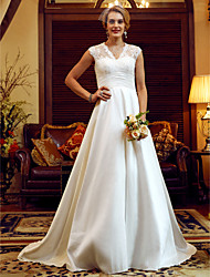 cheap -Ball Gown V Neck Court Train Lace / Taffeta Cap Sleeve See-Through / Beautiful Back Made-To-Measure Wedding Dresses with Pearls / Ruched 2020