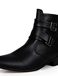 cheap -Men's Boots Comfort Shoes Snow Boots Fashion Boots Athletic Casual Outdoor Leather / Fabric White / Black / Khaki Fall / Winter / Lace-up / Bootie / EU40
