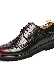 cheap -Men's Formal Shoes Leather Fall / Winter Oxfords Walking Shoes Black / Yellow / Red / Wedding / Party & Evening / Lace-up / Party & Evening / Brogue