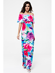cheap -Women's Off Shoulder Daily Club Street chic Maxi Bodycon Dress - Floral Color Block Backless Layered Boat Neck Summer Pink M L XL