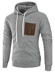 cheap -Men's Sports Active / Street chic Long Sleeve Hoodie - Solid Colored Patchwork Hooded Dark Gray XL