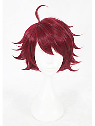 cheap -Synthetic Wig Cosplay Wig Straight Straight Wig Short Red Synthetic Hair Faux Locs Wig Red