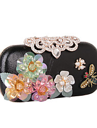cheap -Women's Bags leatherette Evening Bag Rhinestone Petal Satin Flower Wedding Party Event / Party Black Gold Silver