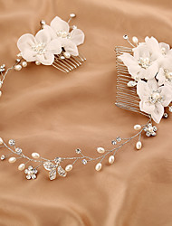 cheap -Tulle / Imitation Pearl / Rhinestone Headbands / Hair Combs / Flowers with 1 Wedding / Special Occasion / Birthday Headpiece