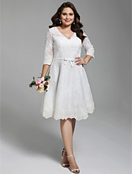 cheap -A-Line V Neck Knee Length All Over Lace 3/4 Length Sleeve Formal Little White Dress / Floral Lace Made-To-Measure Wedding Dresses with Appliques / Bow(s) / Buttons 2020