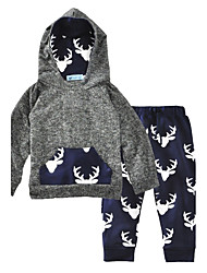 cheap -Baby Boys' Animal Print Cotton Animal / Fashion Long Sleeve Regular Regular Cotton Clothing Set Gray / Toddler