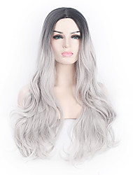 cheap -Synthetic Wig Wavy Body Wave Kardashian Body Wave Wavy Wig Grey Synthetic Hair Ombre Hair Natural Hairline Middle Part Black Gray / African American Wig