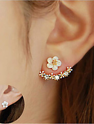 cheap -Women's Crystal Stud Earrings Jacket Earrings Flower Daisy Elegant Sterling Silver Crystal S925 Sterling Silver Earrings Jewelry Rose Gold / Gold / Silver For Christmas Wedding Party Special Occasion