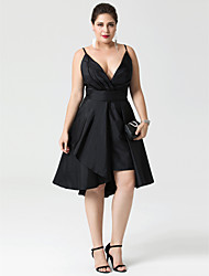 cheap -A-Line Fit & Flare Little Black Dress Convertible Dress Cute Holiday Homecoming Cocktail Party Dress Plunging Neck Sleeveless Asymmetrical Taffeta with Buttons Pleats 2021