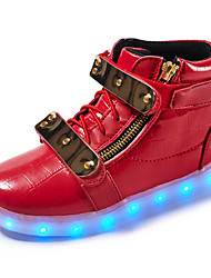 cheap -Boys USB Charging  LED / Comfort / LED Shoes Leather Sneakers Walking Shoes Hook & Loop / LED Black / White / Red Spring / Rubber