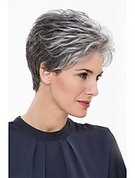 Недорогие -Человеческие волосы Парик Классика Естественные волны Короткие Прически 2020 Прически Холли Берри Классика Естественные волны Машинное плетение Серый Повседневные
