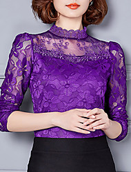 cheap -Women's Daily Going out Weekend T-shirt - Solid Colored Lace Stand Purple / Fall / Winter