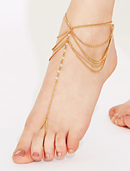 cheap -Women's Crystal Anklet Barefoot Sandals feet jewelry Layered Tassel Stacking Stackable Ladies Tassel Vintage Party Work Crystal Anklet Jewelry White / Golden For Party Beach