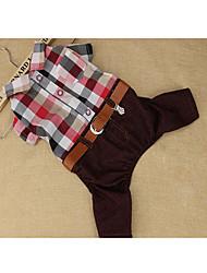 cheap -Dog Shirt / T-Shirt Dog Clothes Casual/Daily Plaid/Check Light Blue Brown