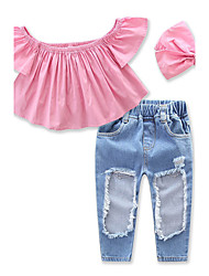 cheap -Toddler Girls' Sweet Daily Solid Colored Hole Short Sleeve Cotton Clothing Set Blushing Pink