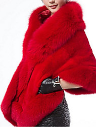 cheap -Women's Fall Square Neck Fur Coat Regular Solid Colored Daily Faux Fur White Black Red Wine One-Size / Winter