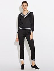 abordables -Femme Sportif Coton Sweat à capuche / Set - Couleur Pleine / Rayé / Couleur unie Pantalon / Look Sportif