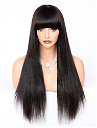 cheap -100% Virgin Human Hair Glueless Lace Front Wig Brazilian Hair Straight Wig Straight bangs With Bangs 130% 150% 180% Density with Baby Hair Natural Hairline 100% Virgin Glueless Women's Short