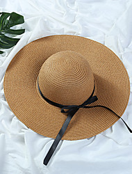 Недорогие -Жен. Шапки Соломенная шляпа Шляпа от солнца-Чистый цвет Солома,Однотонный Лето Черный Бежевый Светло-коричневый