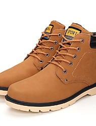 cheap -Men's Snow Boots Faux Leather Fall / Winter Casual Boots Booties / Ankle Boots Black / Light Brown / Dark Brown / Lace-up / Outdoor / Fashion Boots
