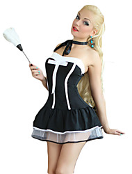 cheap -Women's Maid Costume Career Costumes Maid Uniforms Sex Cosplay Costume Party Costume Patchwork Dress Headpiece T-Back