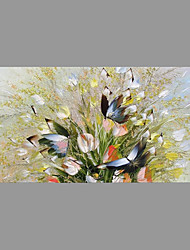 cheap -Hand-Painted Floral/Botanical Horizontal,Asian Pastoral Modern/Contemporary One Panel Canvas Oil Painting For Home Decoration
