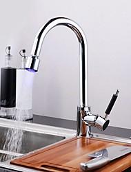 Недорогие -смеситель для кухни хромированный современный комплект / светодиодный / стильный кухонный кран high arc