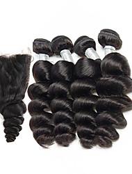 cheap -4 Bundles With Closure Brazilian Hair Loose Wave Virgin Human Hair Natural Color Hair Weaves 8-26 inch Human Hair Weaves Human Hair Extensions