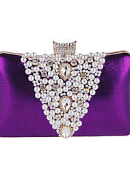 cheap -Women's Bags PU Leather Polyester Evening Bag Rhinestone Pearls Party Wedding Event / Party Wedding Bags Handbags Black Purple Gold Silver