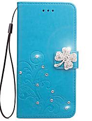 cheap -Case For Asus Zenfone 2 Laser ZE550KL / Asus / Asus Zenfone 5 Wallet / Card Holder / Rhinestone Full Body Cases Flower Hard PU Leather