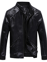 cheap -Men's Daily / Weekend Punk & Gothic Fall / Winter Plus Size Regular Leather Jacket, Solid Colored Stand Long Sleeve PU / Polyester Blue / Brown / Black