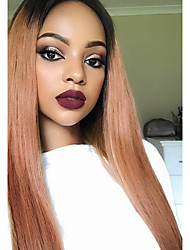 cheap -Remy Human Hair Glueless Lace Front Lace Front Wig Rihanna style Brazilian Hair Straight Ombre Wig 130% Density with Baby Hair Faux Locs Wig Ombre Hair Natural Hairline African American Wig Women's
