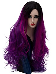 cheap -Synthetic Wig Natural Wave Natural Wave Wig Long Dark Purple Synthetic Hair Women's Ombre Hair Purple