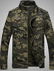 cheap -Men's Daily / Weekend Military Fall Regular Jacket, Camo / Camouflage Stand Long Sleeve Cotton Army Green / Khaki