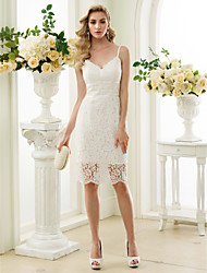 cheap -Sheath / Column V Neck Knee Length Lace Spaghetti Strap Little White Dress / Floral Lace Made-To-Measure Wedding Dresses with Lace 2020