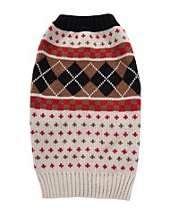 cheap -Cat Dog Coat Sweater Christmas Winter Dog Clothes Beige Costume Spandex Cotton / Linen Blend Plaid / Check Party Cosplay Casual / Daily XXS XS S M L XL