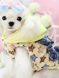 cheap -Dog Vest Winter Dog Clothes Yellow Dark Blue Costume Chinlon Stars Casual / Daily XS S M L XL