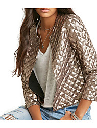 cheap -Women's Daily Street chic Fall Short Jacket, Solid Colored Round Neck Long Sleeve Polyester / Spandex Gold