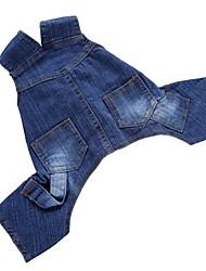 cheap -Dog Jumpsuit Denim Jacket / Jeans Jacket Pants Winter Dog Clothes Blue Costume Denim Solid Colored Party Birthday Cowboy XS S M L XL XXL