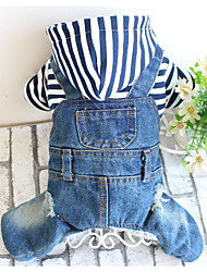 cheap -Dog Jumpsuit Dog Clothes Jeans Blue Oxford cloth Costume For Winter Men's Women's Casual / Daily
