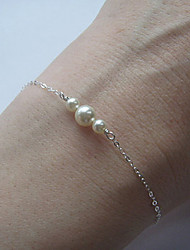 cheap -Women's Pearl Chain Bracelet Charm Bracelet Dainty Ladies Delicate Small Alloy Bracelet Jewelry Silver / Golden For Party Daily Casual Sports