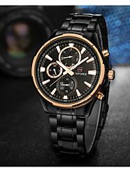 cheap -NAVIFORCE Men's Wrist Watch Japanese Quartz Stainless Steel Black 30 m Water Resistant / Waterproof Cool Analog Luxury Classic Fashion - Black