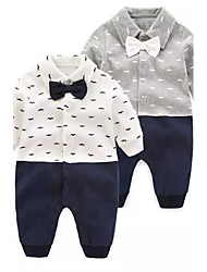 cheap -Baby Boys' Cartoon Solid Color / Fashion / Floral Botanical Long Sleeve Overall & Jumpsuit White