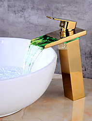 cheap -Bathroom Sink Faucet - LED / Waterfall Gold Centerset Single Handle One HoleBath Taps