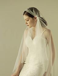 cheap -One-tier Cut Edge Wedding Veil Fingertip Veils with Ruffles Tulle / Mantilla