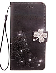 cheap -Case For LG G3 / LG / LG G4 LG G6 Wallet / Card Holder / Rhinestone Full Body Cases Flower Hard PU Leather