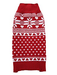 cheap -Cat Dog Coat Sweater Christmas Winter Dog Clothes Red Costume Spandex Cotton / Linen Blend Snowflake Party Casual / Daily Keep Warm XXS XS S M