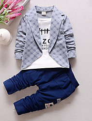 cheap -Toddler Boys' Check Plaid Patchwork Long Sleeve Regular Cotton Clothing Set Gray