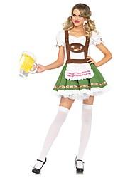 Недорогие -Октоберфест Широкая юбка в сборку Trachtenkleider Жен. Кофты Платье Танга баварский Костюм Зеленый