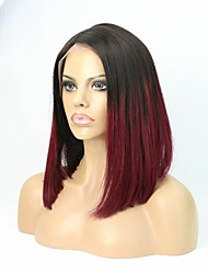 cheap -Human Hair Glueless Lace Front Lace Front Wig Bob Layered Haircut With Bangs Rihanna style Brazilian Hair Straight Ombre Wig 130% Density with Baby Hair Ombre Hair Natural Hairline 100% Virgin